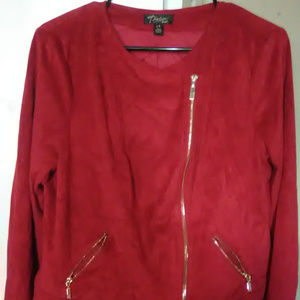 red faux-suede moto jacket